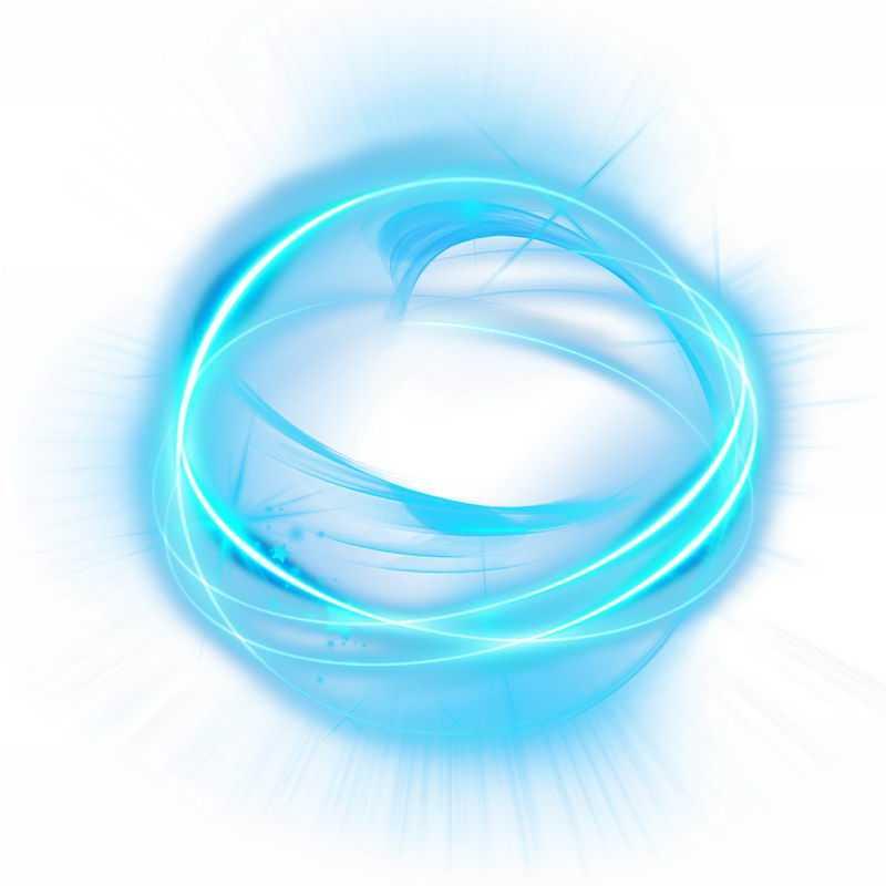 绚丽的蓝色科技风格光芒光晕光圈发光抽象光球效果6484932免抠图片素材