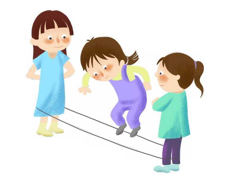 三个卡通女孩正在跳橡皮筋玩游戏1438934png图片免抠素材