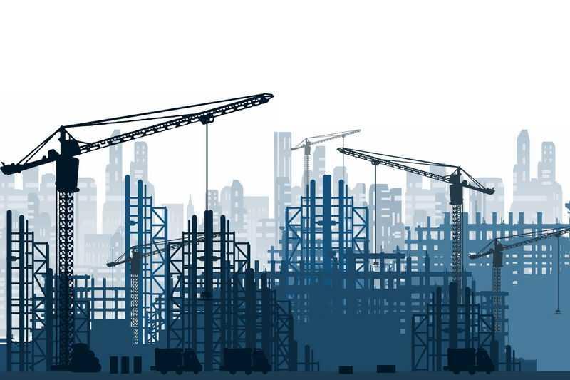 忙碌的城市建设工地和远景城市建筑蓝色剪影2147284图片素材