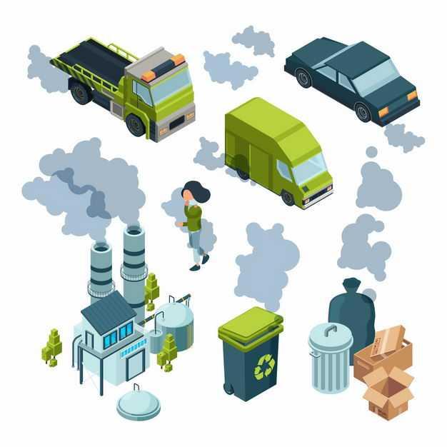 各种冒着尾气的汽车冒烟的工厂烟囱散发恶臭的垃圾桶环境污染1310364矢量图片免抠素材