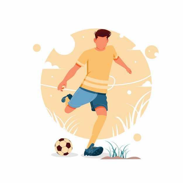 正在踢足球的男人手绘插画8122756矢量图片免抠素材