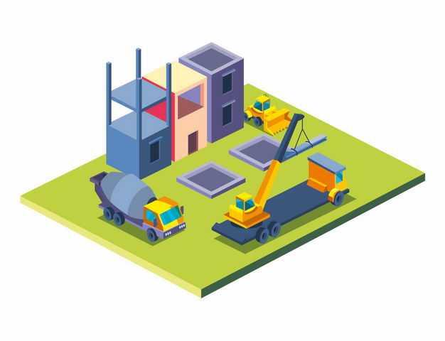 2.5D风格水泥车吊车建筑工地建房子6107804矢量图片免抠素材