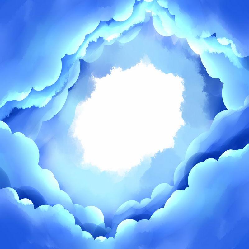 蓝色卡通漫画风格漩涡云手绘插画8614893图片素材 装饰素材-第1张