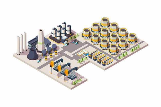 2.5D风格石油开采和化工厂1452548矢量图片免抠素材