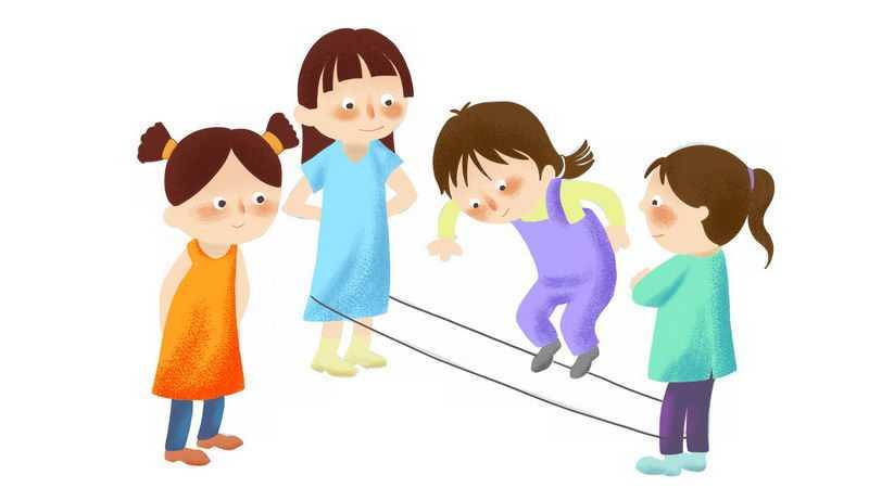 4个卡通女孩正在跳橡皮筋玩游戏5302673png图片免抠素材