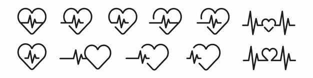 各种心电图心形线条图案6835082矢量图片免抠素材