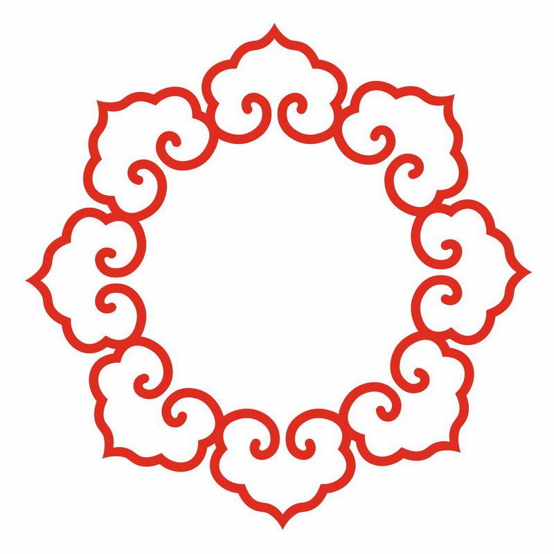 红色的中式花纹图案logo徽章标志装饰7884689png图片免抠素材 装饰素材-第1张