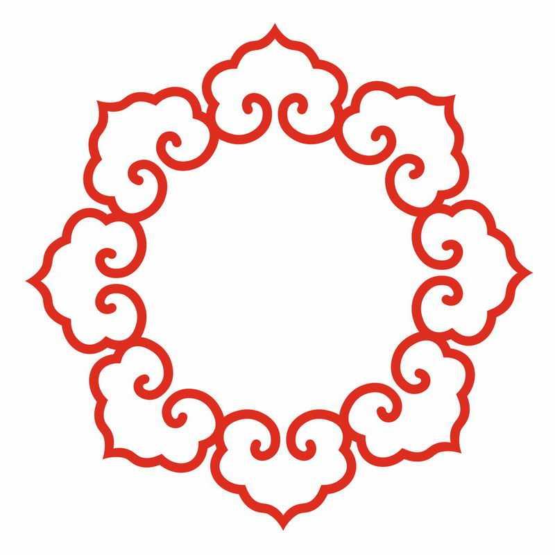 红色的中式花纹图案logo徽章标志装饰7884689png图片免抠素材