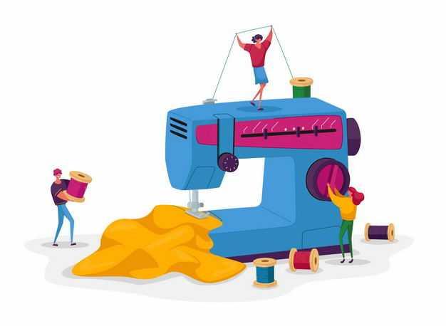 卡通工人正在使用缝纫机制造衣服8133670矢量图片免抠素材