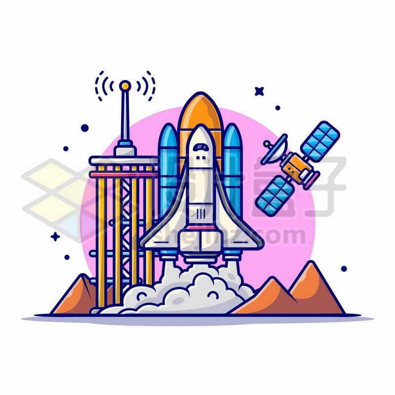 MBE风格卡通航天飞机正在起飞和卫星探索宇宙6891674矢量图片免抠素材