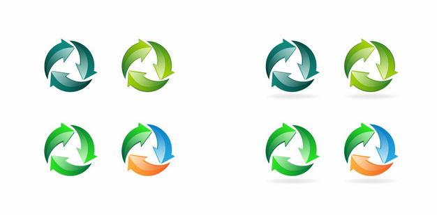 彩色的循环箭头可回收垃圾标志3935188矢量图片免抠素材 标志LOGO-第1张