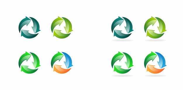彩色的循环箭头可回收垃圾标志3935188矢量图片免抠素材