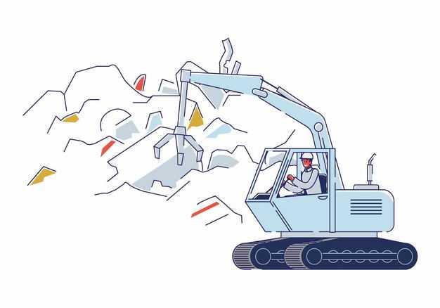 垃圾填埋场开着带爪子吊车处理垃圾8458450矢量图片免抠素材