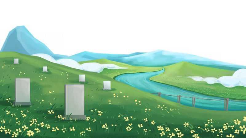 清明节扫墓野外风景墓地插画6757833png图片免抠素材