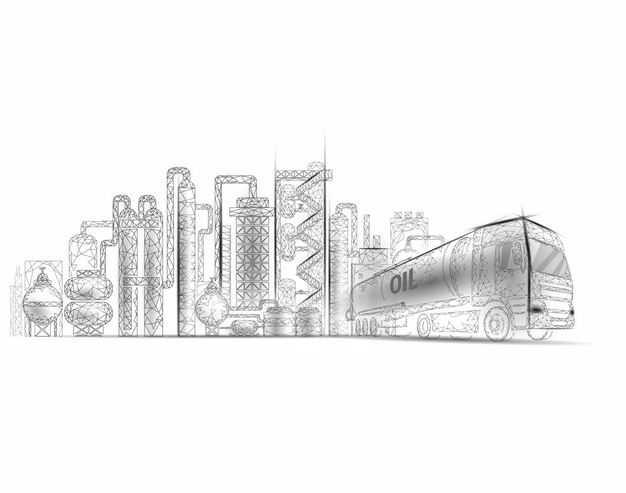 黑色线条三角形风格化工厂设施石油工业和油罐车6996650矢量图片免抠素材