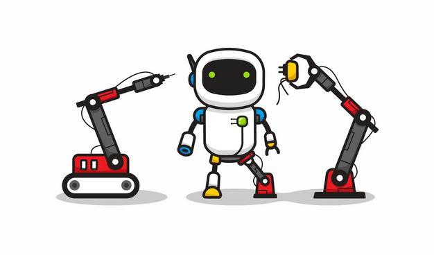 卡通工业机械手臂正在维修小机器人4219006矢量图片免抠素材 工业农业-第1张