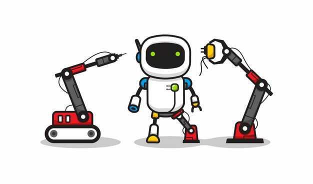 卡通工业机械手臂正在维修小机器人4219006矢量图片免抠素材