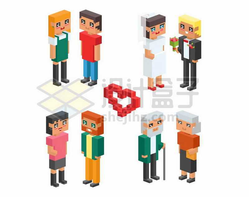 2.5D风格方块人情侣7416688矢量图片免抠素材