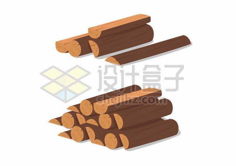 2堆2.5D风格木头柴火劈柴7242483矢量图片免抠素材