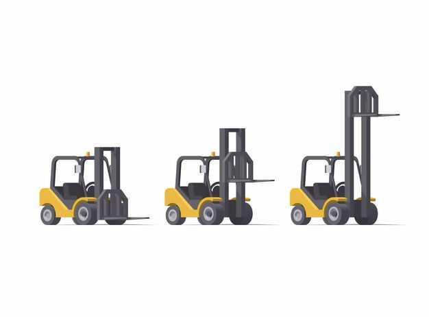 3辆叉车的三种不同的起重状态6385944矢量图片免抠素材