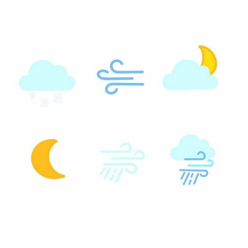 6款扁平化风格卡通天气预报图标3056279图片素材