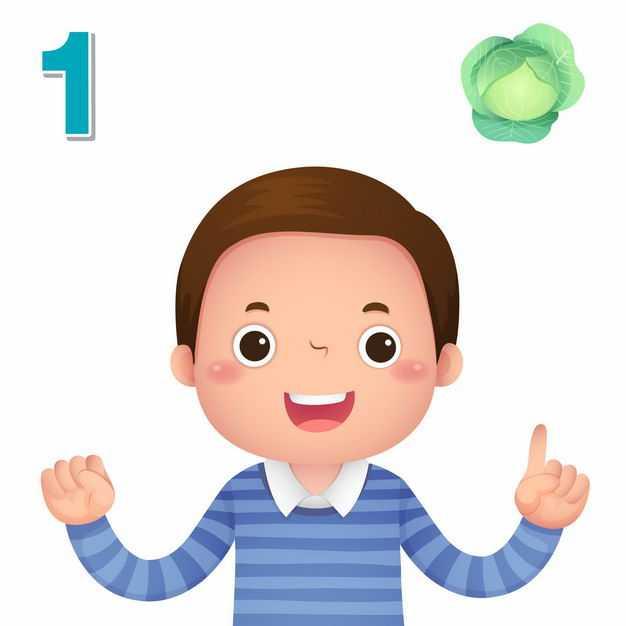 卡通小男孩数数字1幼儿园数学教学数字手势4424874矢量图片免抠素材