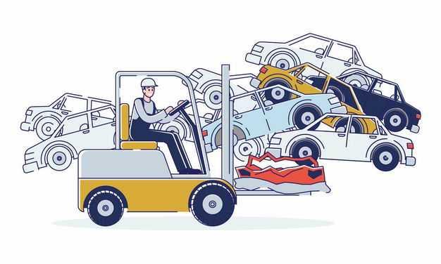 汽车报废中心和卡通叉车2207673矢量图片免抠素材