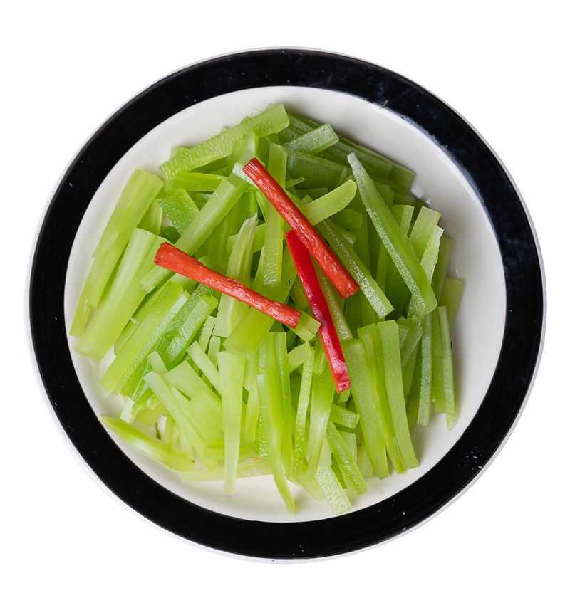 一盘美味的凉拌莴苣莴笋红辣椒美味凉菜3458151png图片免抠素材