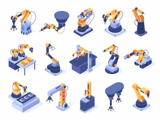 15款2.5D风格工业机器人机械手臂8472500矢量图片免抠素材