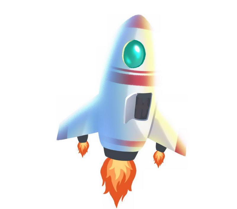 尾巴正在喷火起飞的卡通火箭6017176png图片免抠素材 军事科幻-第1张