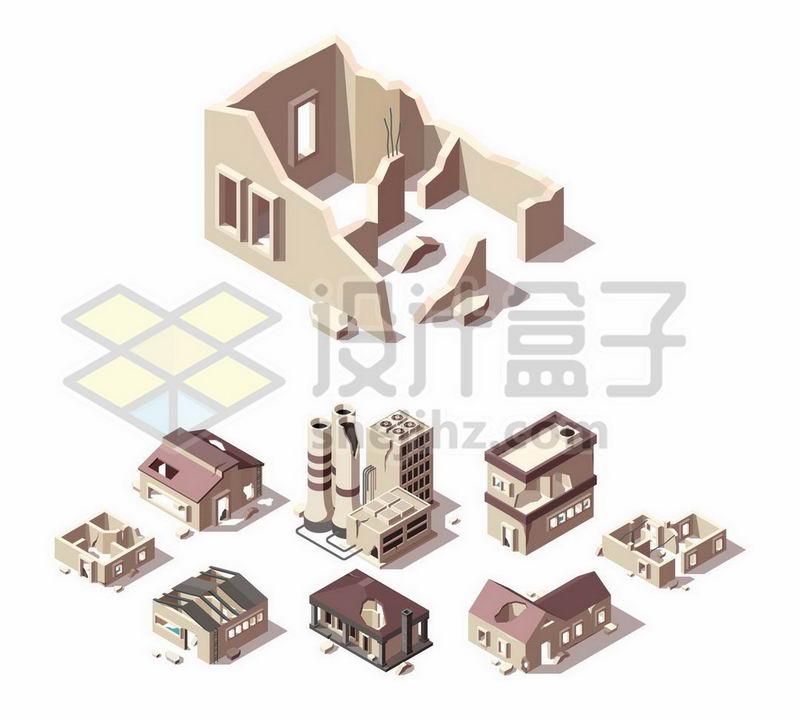 各种倒塌破落的房子建筑物大楼7183797矢量图片免抠素材 建筑装修-第1张
