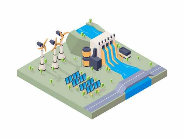 2.5D风格水力发电风能发电太阳能发电等清洁绿色能源5966794矢量图片免抠素材