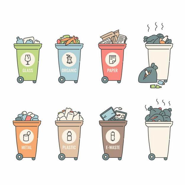 塑料生活废纸玻璃电子等垃圾桶垃圾分类手绘插画2918976矢量图片免抠素材 生活素材-第1张