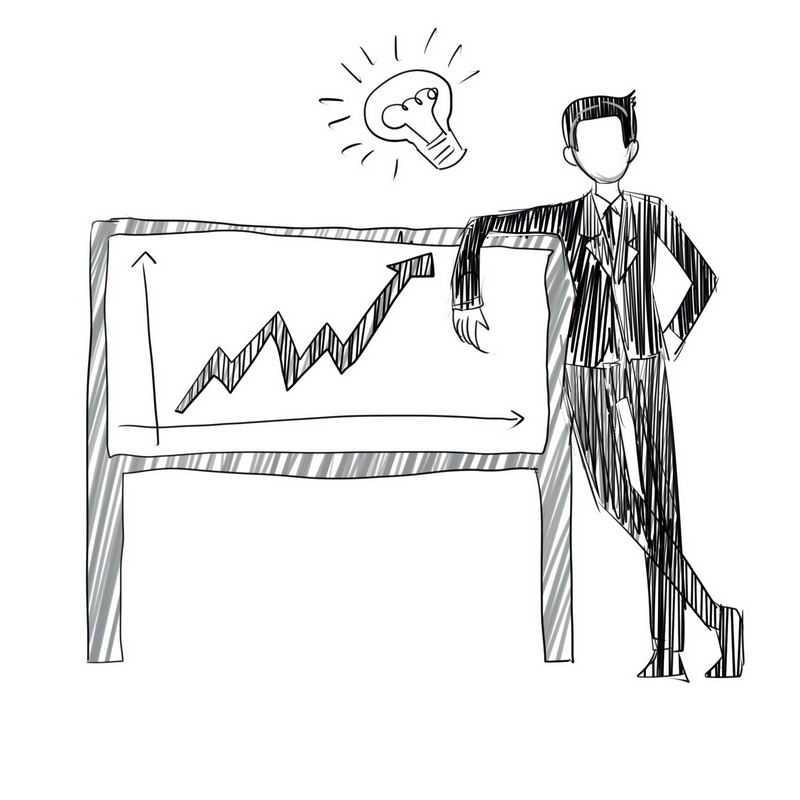 卡通商务人士和数据增长曲线点子主意手绘线条插画5302801免抠图片素材