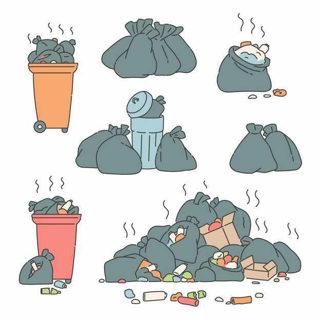 冒着臭气的垃圾和垃圾桶垃圾山1351671矢量图片免抠素材