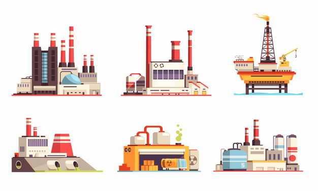 6款化工厂发电厂石油钻井平台核电站等工业设施9006988矢量图片免抠素材