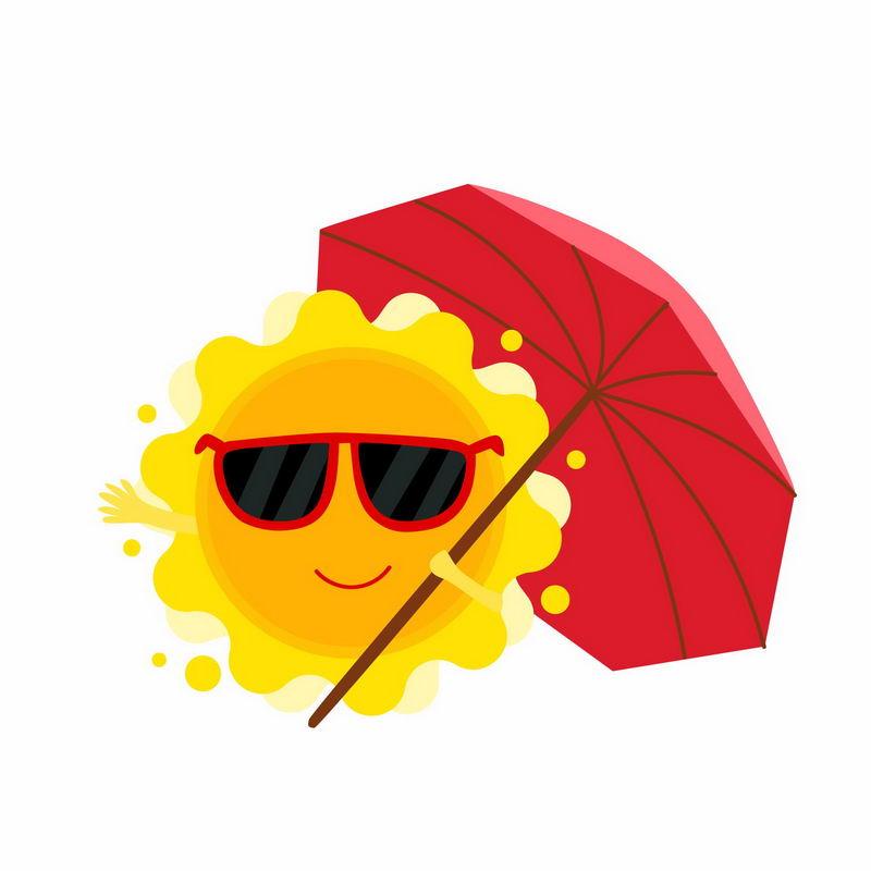 戴着墨镜的卡通太阳打着红伞9691088矢量图片免抠素材 生活素材-第1张