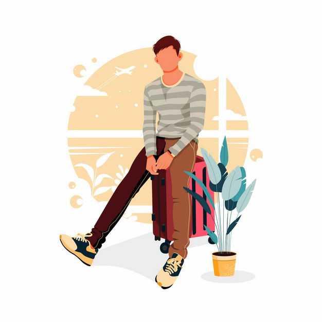 男人无聊的坐在红色行李箱上手绘插画1364143矢量图片免抠素材