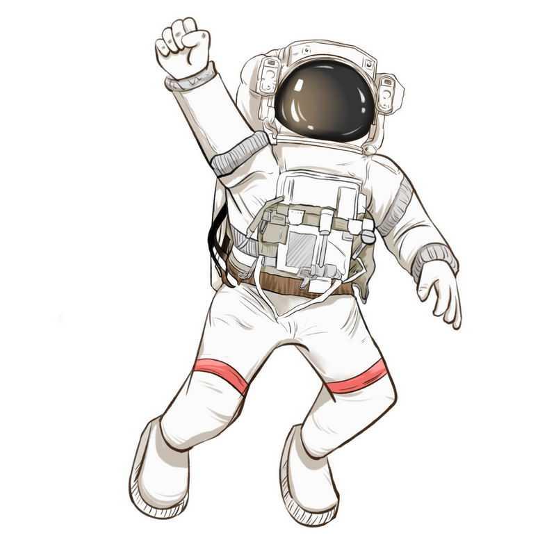手绘风格举手的卡通宇航员9193443免抠图片素材