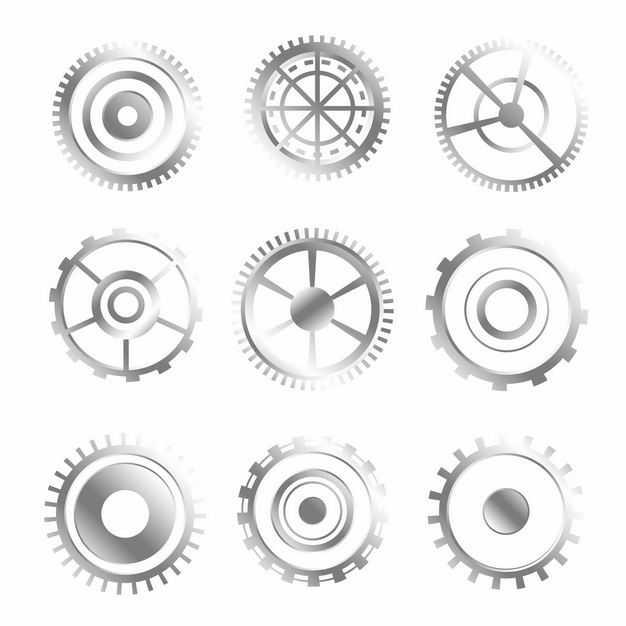 9款不锈钢色齿轮装置9745211矢量图片免抠素材