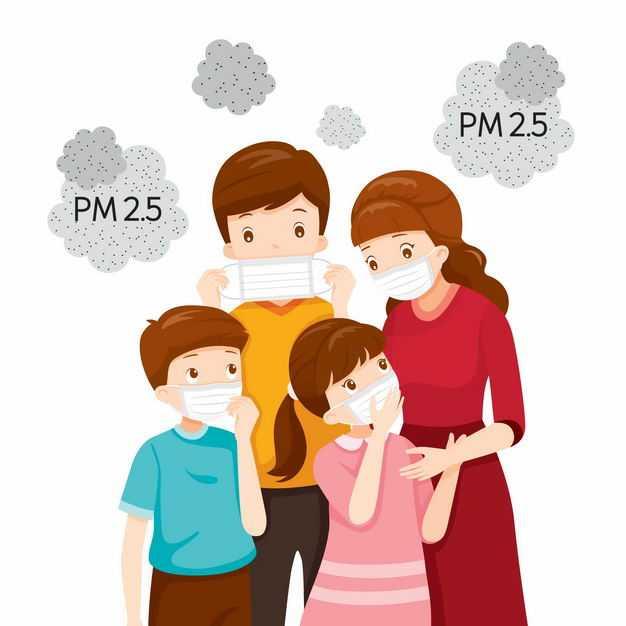 正在戴口罩的一家四口PM2.5空气污染空气质量指数6354164矢量图片免抠素材