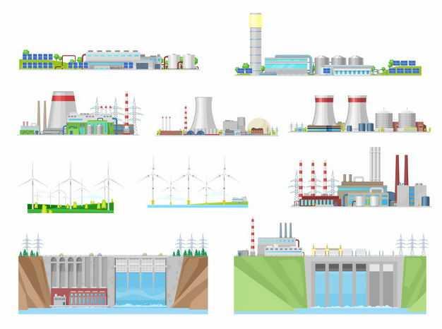 各种地热发电站火力发电核电站风力发电站和水力发电厂6611053矢量图片免抠素材
