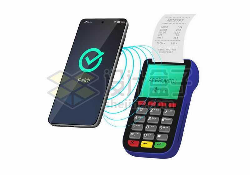 POS机和手机NFC功能使用展示4343877矢量图片免抠素材