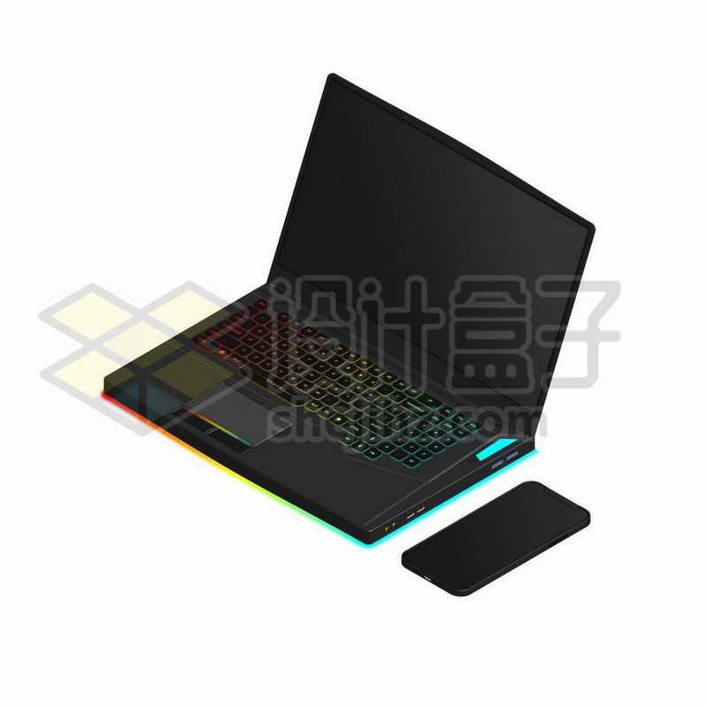 彩色键盘的黑色游戏笔记本电脑和手机8628850矢量图片免抠素材