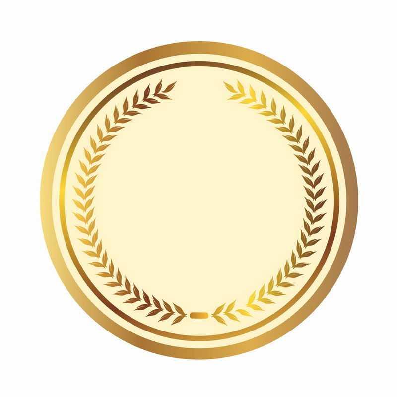 金色麦穗树叶徽章标志logo边框装饰6335188AI矢量图片免抠素材