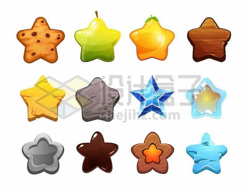 12款各种材质的五角星图案游戏元素8393782矢量图片免抠素材