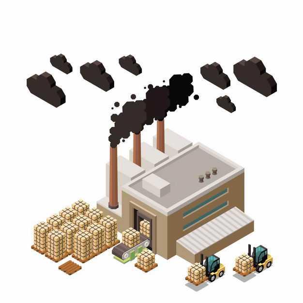 2.5D风格冒着黑烟的工厂正在装卸货物9815251矢量图片免抠素材