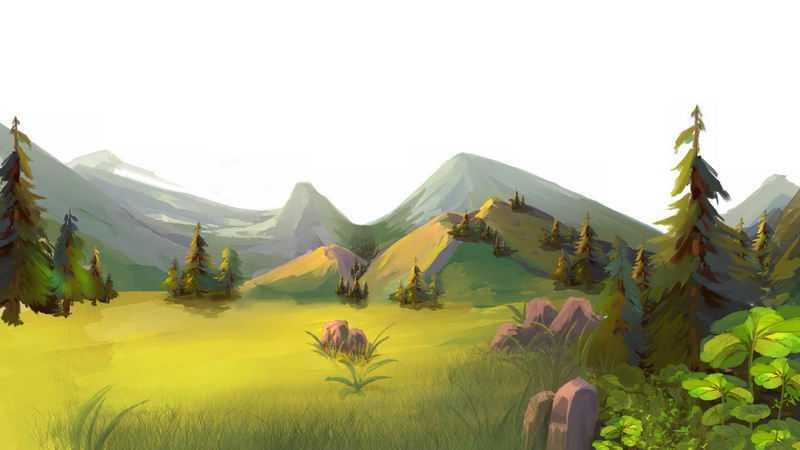 远处的高山和草原森林手绘插画2948638png图片免抠素材