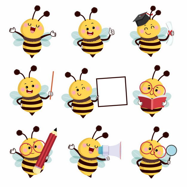 9款卡通小蜜蜂幼儿园教学元素2102275矢量图片免抠素材 教育文化-第1张