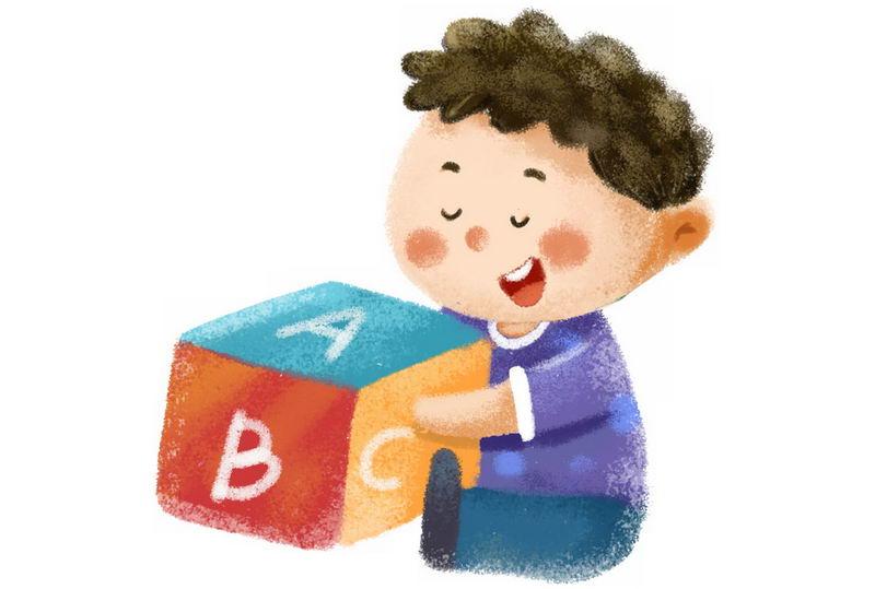 卡通男孩正在玩英文教学道具彩绘插画2935247png图片免抠素材 人物素材-第1张